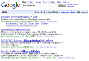 A screen shot of the results of searching for Miserable failure on Google